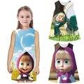 Masha Eo Urso dos desenhos animados para Crianças Meninas Do Bebê Vestido de Festa Roupas de Verão