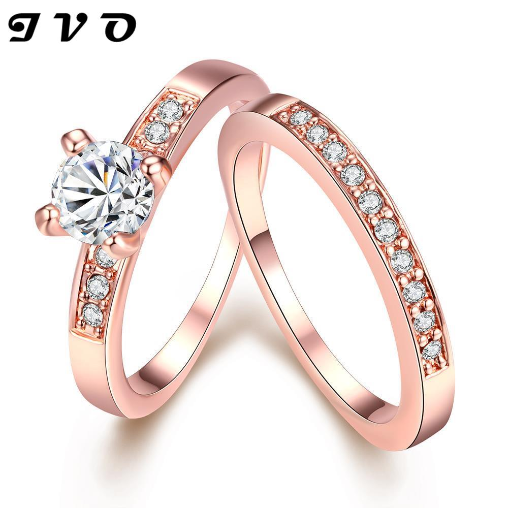 Rose Gold Color 2 Circle Rings With Aaa Zircon Fashion  Jewelry Wedding