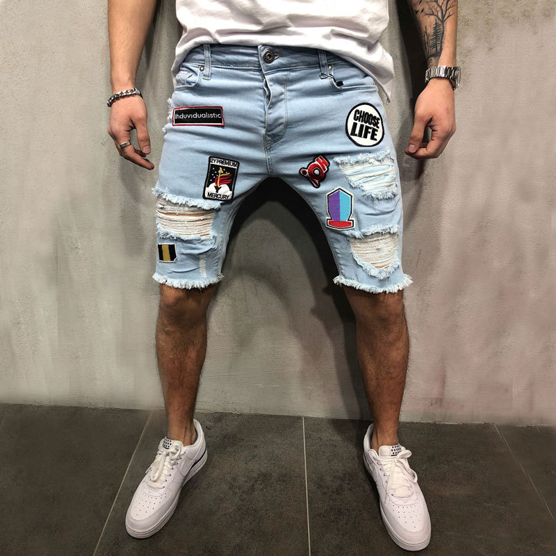 Trend Personality Men's Fashion Embroidery Hole Patch Pants Stretch Badges Denim Shorts Pants Male Simple Fashion Jeans