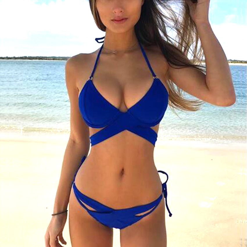 Swimwear Women 2017 New Hot Sexy Pacthwork Solid Bikini Set Women Push up Vintage Swimwear Brazilian Swimsuit Beachwear Biquini Купальник