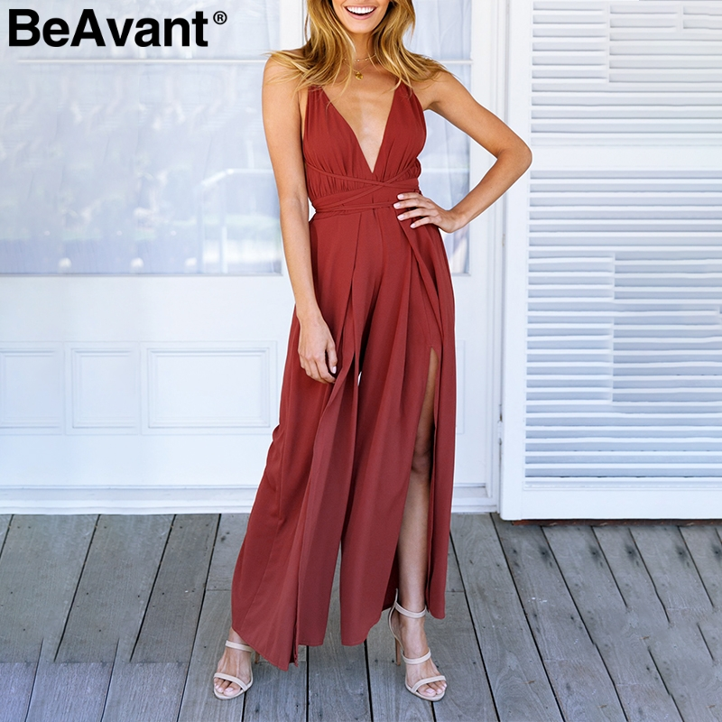 BeAvant Sexy v neck backless print   jumpsuit   women romper Halter lace up high waist   jumpsuit   Split wide leg summer   jumpsuit   2018
