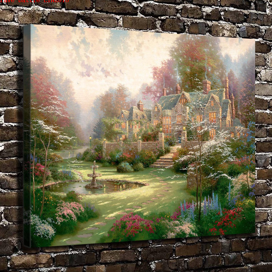 Thomas kinkade gardens beyond spring gate canvas painting - Home interiors thomas kinkade prints ...