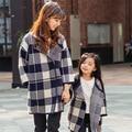 2017 осень зима плед пальто мать и дочь одежда сопоставления семьи одежда семья взгляд nc