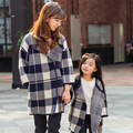 2017 autumn winter plaid coat mother and daughter clothes matching family clothing family look nc