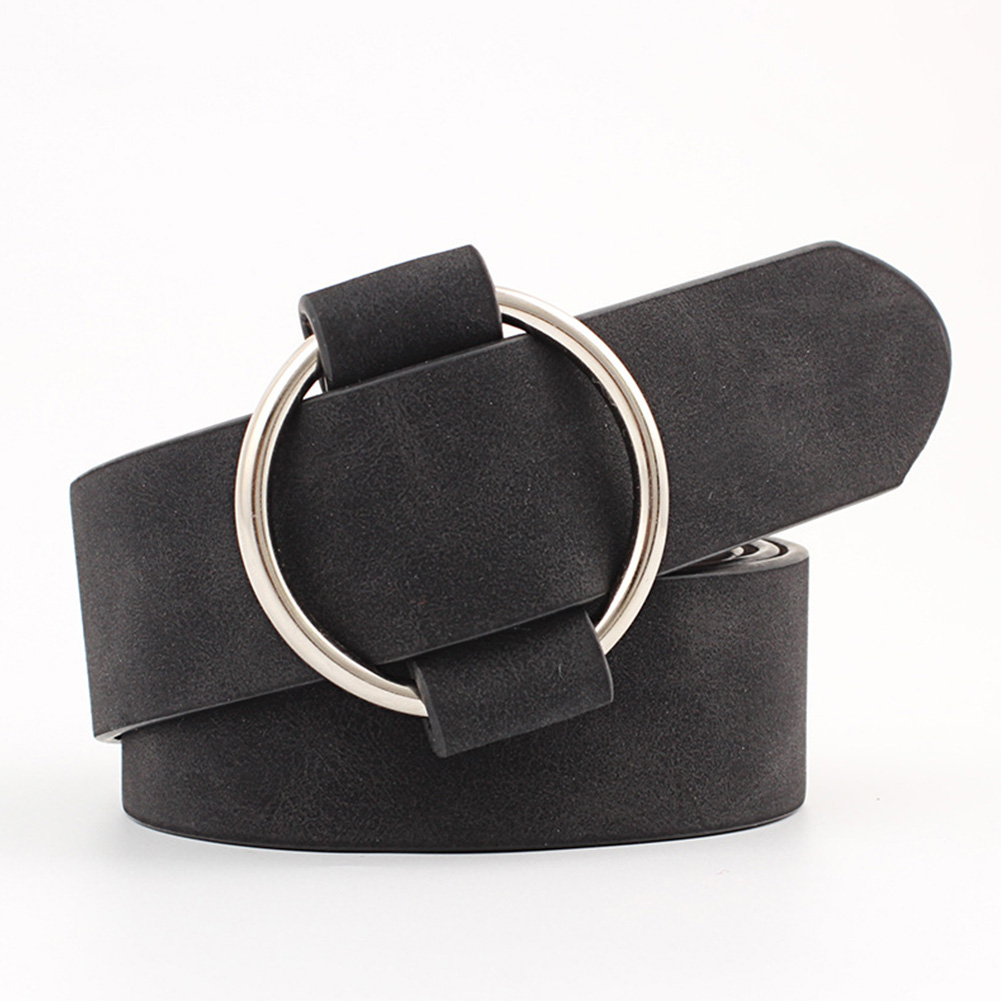 Ceinture Women   Belt   Decorative Wide Jeans Fashion Solid Waistband All- Dress Elastic Leather Strap Casual Round Buckle