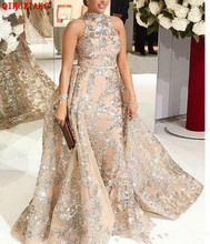 Luxury High Neck Mermaid Evening Dress Formal Gowns with Detachable Skirt New Arrival Silver Embroidered Sequin 2019 Prom Dress