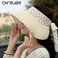 CN-RUBR Summer Visor Hat  Children Travel Necessary Sun Hat Empty Top Cap Volume Foldable Wide Brim Straw Beach Hat Gorro Chapeu