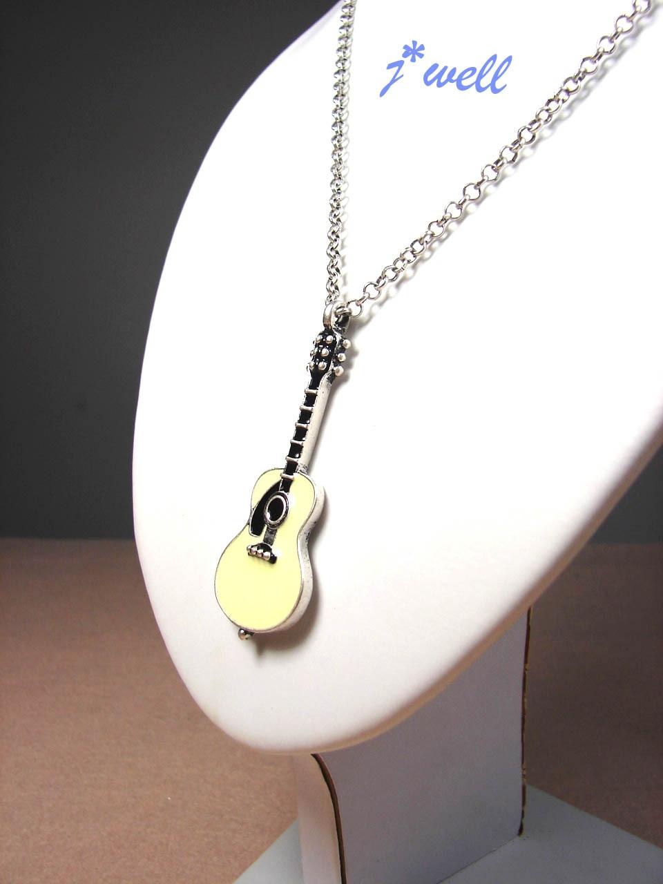 J WELL Designer Jewelry YellowRed Guitar Music Fan Rock Roll