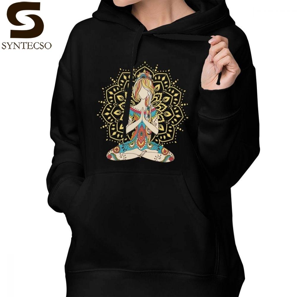 Om Hoodie Om Chakras Mindfulness Meditation Zen 4 Hoodies Cotton Graphic Hoodies Women Sweet Long-sleeve Pullover Hoodie