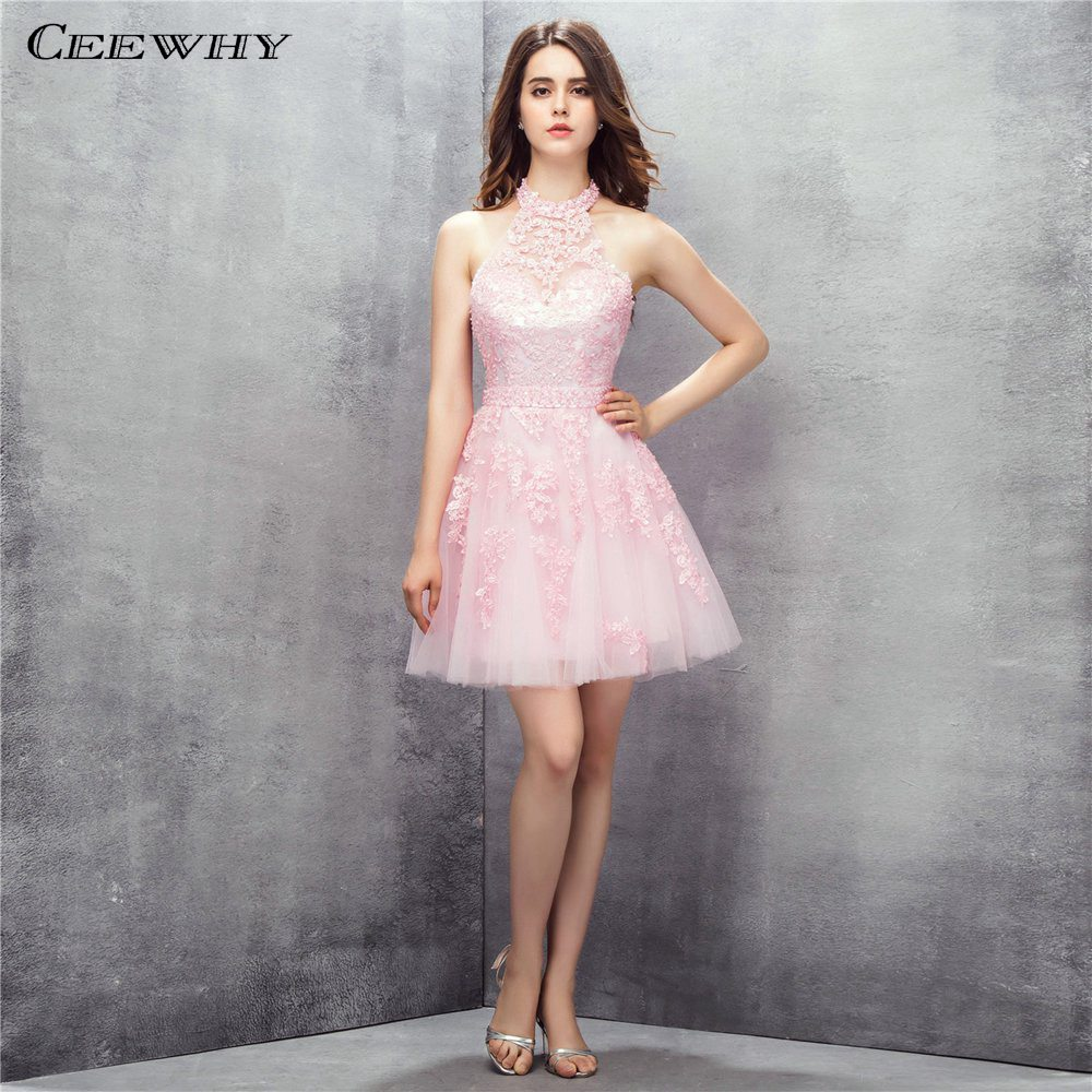 CEEWHY Sleeveless Beaded Halter Prom   Dresses   Off Shoulder Lace Applique Prom   Dress   Pink Formal Gown Short   Cocktail     Dresses