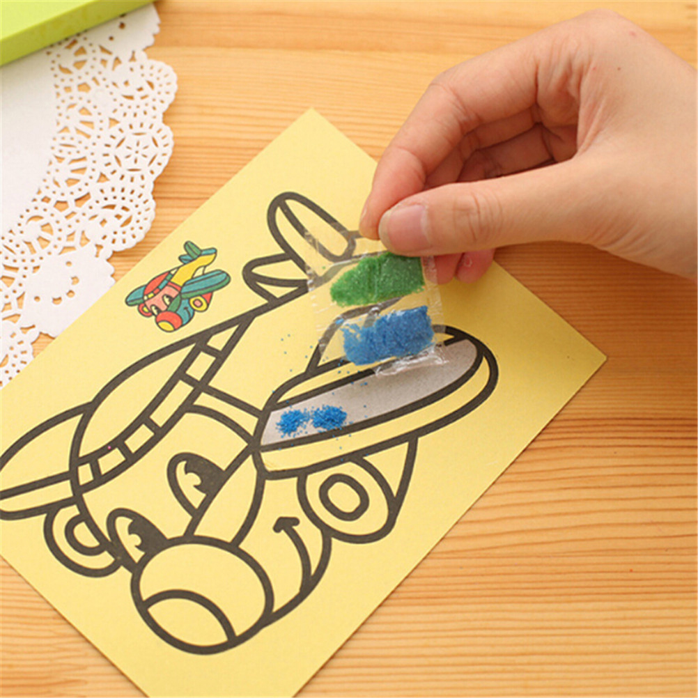 5/10Pcs Sand Painting Handmade Colored Cartoon Drawing Toys Sand Art Kids Coloring DIY Crafts Learning Sand Art Painting Cards casual casual инсайд