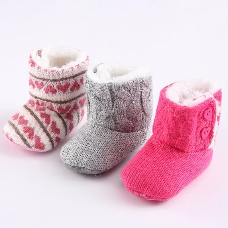 New Winter Super Warm Newborn Girl Baby Prewalker solf sole Shoes Infant Toddler Princess Bebe Crib Snow Knitting Boots