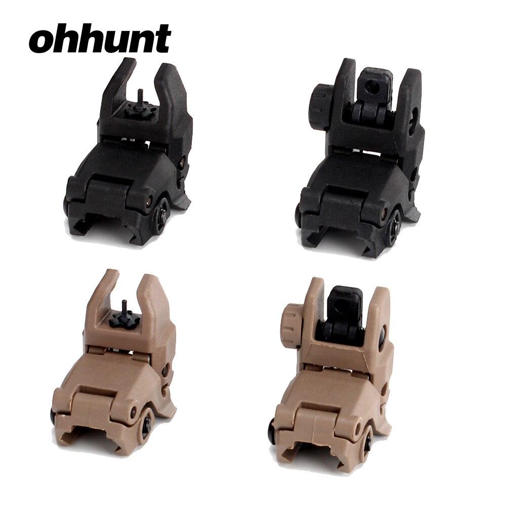 Ohhunt modelo 4 ar 15 tático flip up frente vista traseira conjunto windage ajuste mira de polímero 20mm ferroviário para rifle handguards