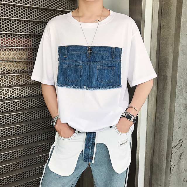 2018  Personality new short sleeve men's summer denim patch with the Korean version of the fashionable men's T - shirt