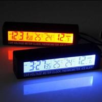 Car Orange/Blue LED Backlight Digital Thermometer   Clock   Indoor/Outdoor Temperature Voltage Meter with Car Cigarette Socket