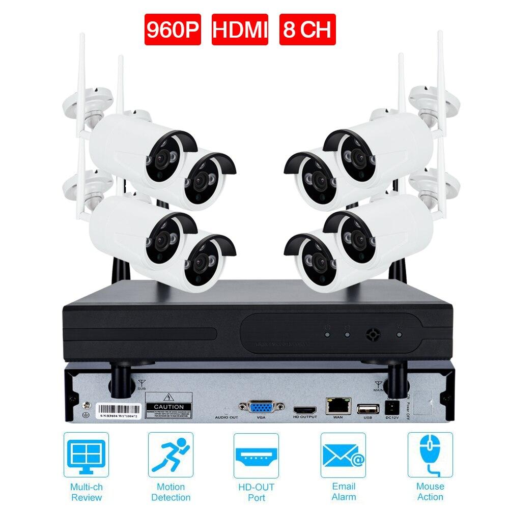 8CH CCTV системы беспроводной 720 P/960 P/1080 P NVR 8 шт. ИК Открытый Водонепроницаемый P2P Wifi IP камера видеонаблюдения системы безопасности комплект наб