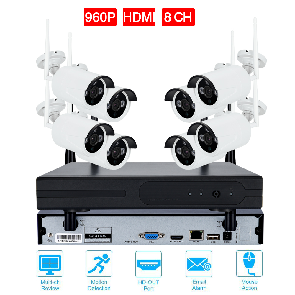 8CH CCTV System Wireless 720P/960P/1080P NVR 8PCS IR Outdoor Waterproof P2P Wifi IP CCTV Security Camera System Surveillance Kit seven promise 720p bullet ip camera wifi 1 0mp motion detection outdoor waterproof mini white cctv surveillance security cctv