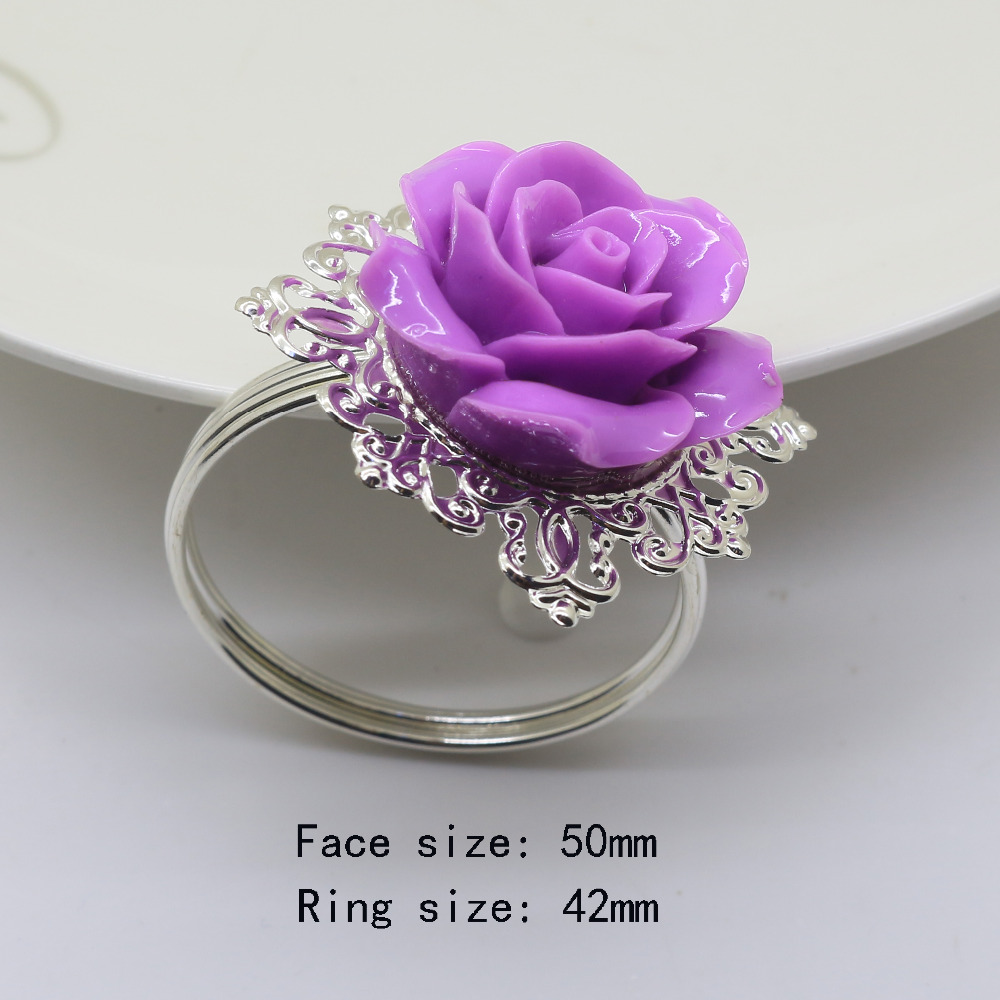 10pcs/lot Purple Color colors Rose Flower Decor silver Napkin Ring Holder Hoops Romantic Weeding Party Table Decoration