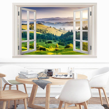 False window Mountain forest natural landscape 3D wall sticker PVC Material wall poster For Living room Bedroom Study Decoration цена