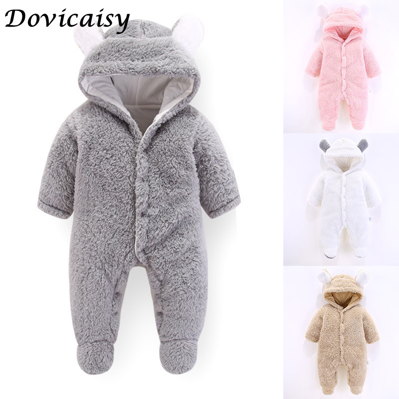 Winter Soft Babies Newborn Baby Clothes Bear Baby Girl Boy   Romper   Coral Fleece Warm Hooded Plush Jumpsuit Animal Overall