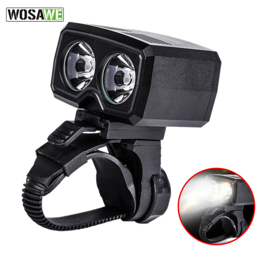 WOSAWE Strong Power Double LED USB Rechargeable Bicycle Front Handlebar Light Bike Lamp Night Lights Headlight