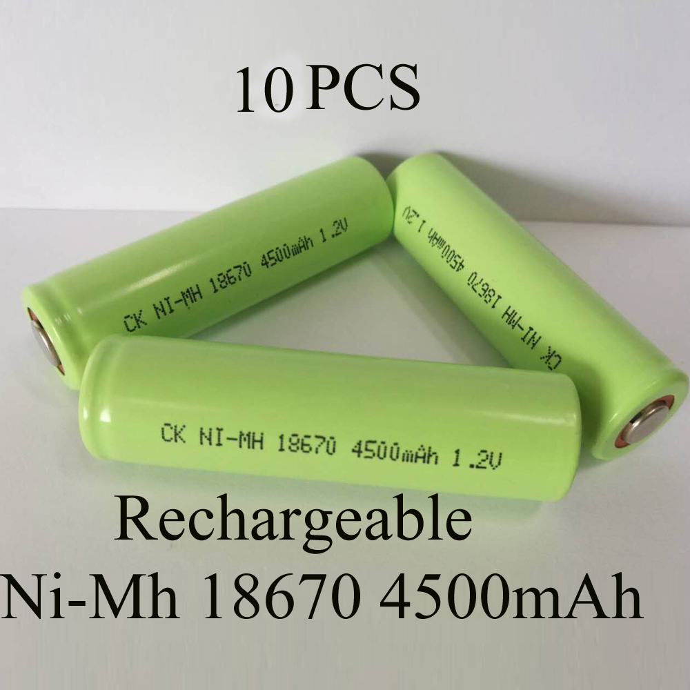 SORAVESS 10PCS 1.2V Ni-Mh 4/3A 18670 Rechargeable Battery Ni Mh 4500mAh Batteries Nickel ...