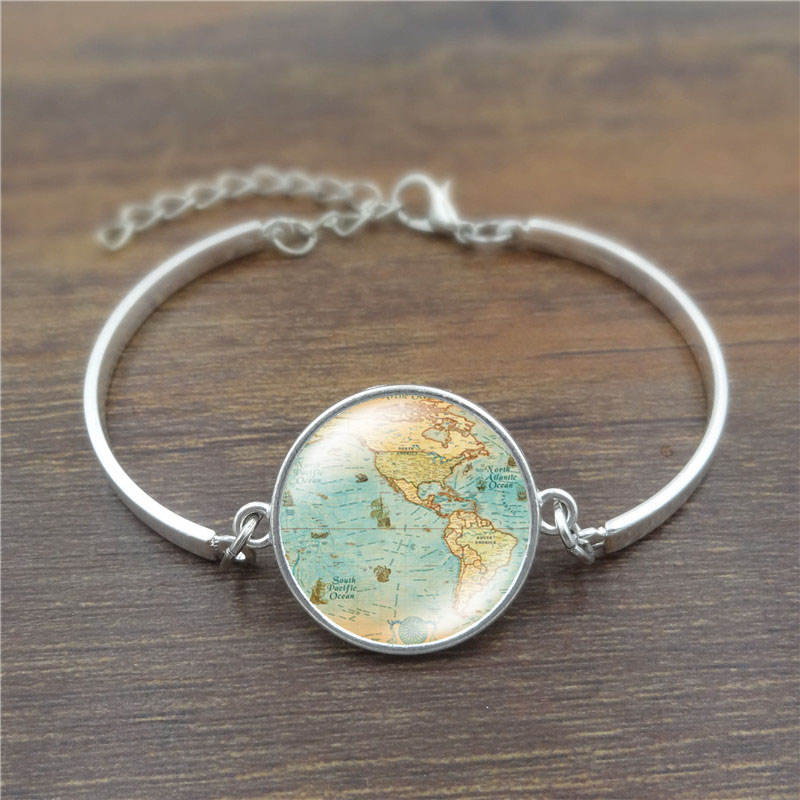 XUSHUI XJ 12 Style Vintage Globe Bracelets & Bangles Planet Earth World Map Glass Cabochon Charm Bracelet Women