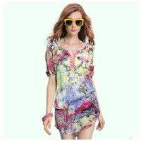 Nieuwe Ontwerp Women'S Zomer Chiffon Bloem Shirts O-hals Losse Driekwart Mouwen Trui Printing Blouses Blusas S/L S1968