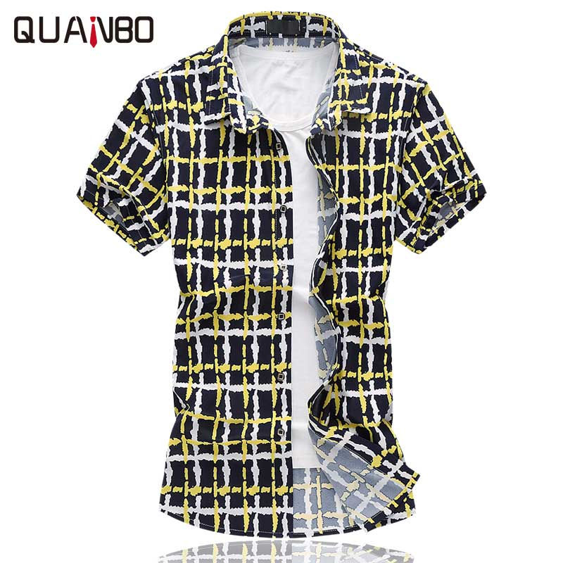New summer 2017 mens slim fit plaid short sleeve shirt for Mens slim hawaiian shirt