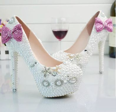 11CM extra high heels round toes platforms white pearls TG586 wedding shoes for woman pink bow bowtie butterfly-knot white shoe