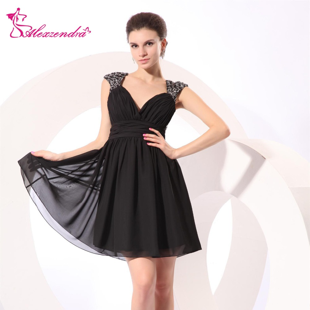 Alexzendra Knee Length Short Black   Prom     Dresses   Sequined Cap Sleeves Natural Waist Special Party Gowns   Prom     Dresses