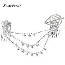 StoneFans Rhinestone Flower Wedding Headband Leafs Comb Hair Clip Tassel Wedding  Hair Accessories Bridal Hair Jewelry For Women 04d6c828addb