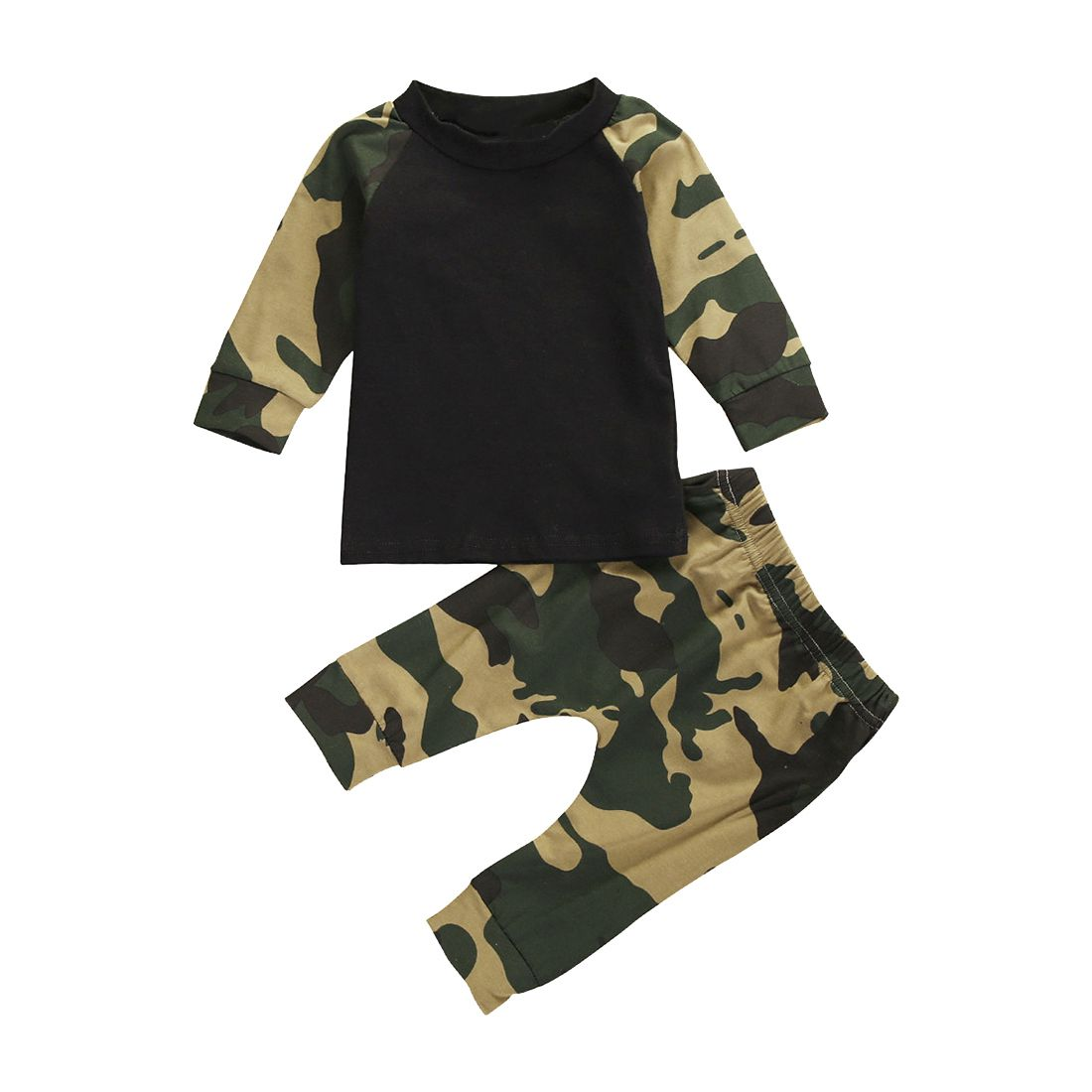 Cute Newborn Baby Boys Kids T-shirt Top+Long Pants Outfit Clothes Set, Black&camouflage 70cm