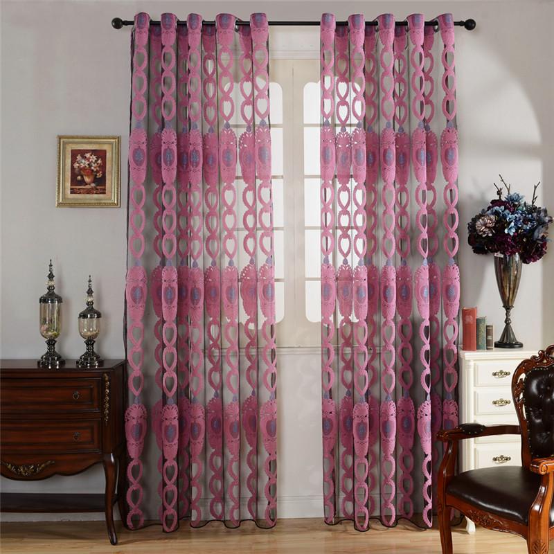 de la moda pura moderna rojo estampado de flores ventana de cortina dormitorio balcn de
