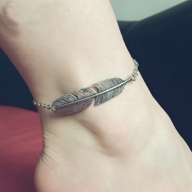 mini appear feather product anklet feathers silver