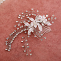 Korean high-grade elegant pearl jewelry hand-crafted leaf combs bridal headdress hair accessories vintage comb