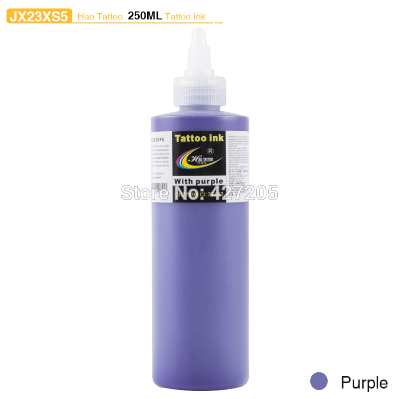 ФОТО Hao Tattoo JX23XS5 250ml/bottle Tattoo Ink Supply Purple Top Pigment for Body Art Tattoo Kits Supplies