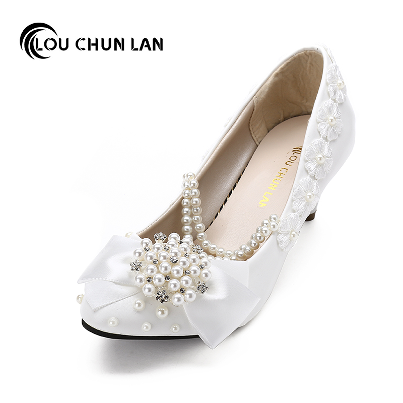 LOUCHUNLAN Women Pumps Shoes bow Crystal Wedding Shoes White High Heels Rhinestone bride Wedding Shoes embroidered Lace женское нижнее белье