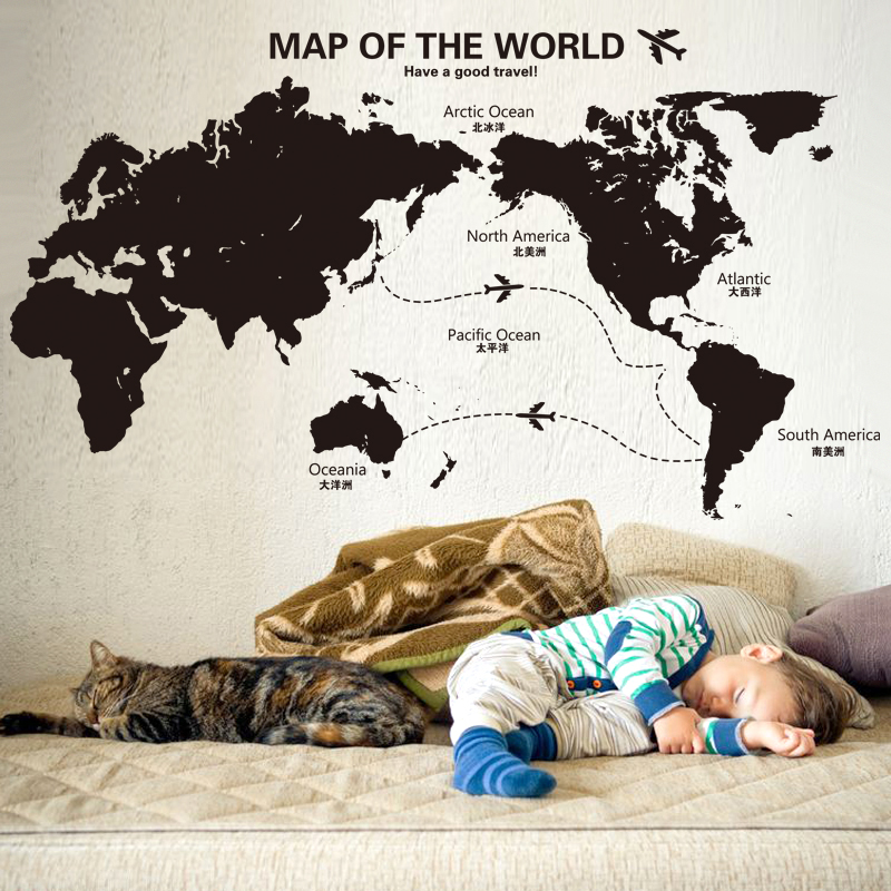 Shijuehezi black color world map wall sticker vinyl diy air route shijuehezi black color world map wall sticker vinyl diy air route mural art for study room office bedroom decoration in wall stickers from home garden gumiabroncs Image collections