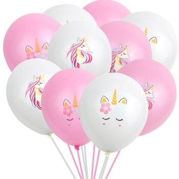 10 pcsset Beautiful new Unicorn Balloons Birthday Wedding Engagement Decorations Kids Pink White Cartoon Unicorn Latex Balloons лол блинг