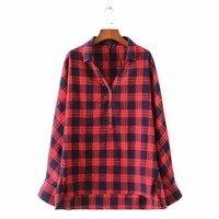 2017 Vintage Plaid Oversized Shirts Side Split Long Sleeve Retro Blouse Ladies Asymetrical Tops Loose V