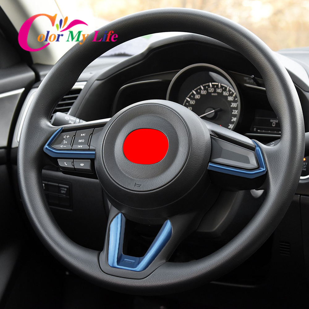 Car Steering Wheel Trim Sequins Cover Stickers for <font><b>Mazda</b></font> <font><b>3</b></font> 6 CX3 CX-<font><b>3</b></font> CX-5 CX5 CX8 CX 9 Axela ATENZA 2017 <font><b>2018</b></font> 2019 <font><b>Accessories</b></font> image