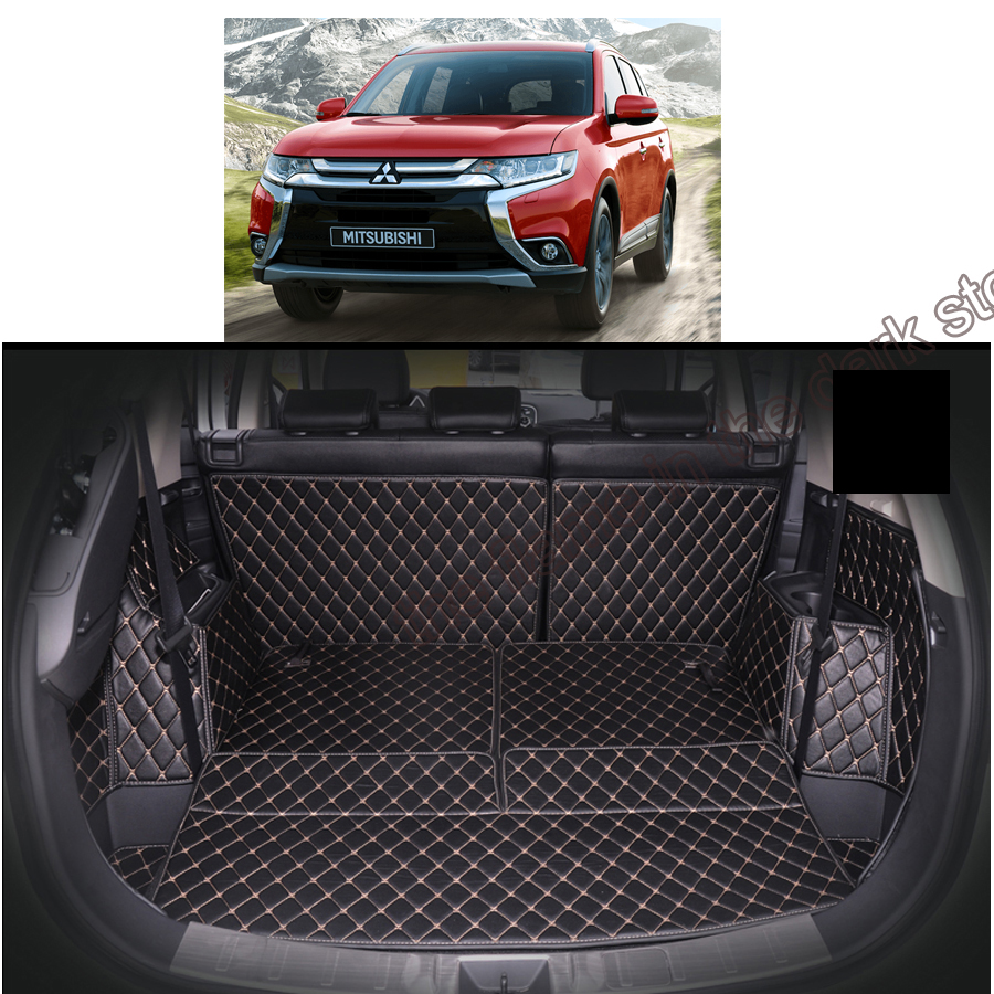 lsrtw2017 fiber leather font b car b font trunk mat for mitsubishi outlander 2013 2014 2015