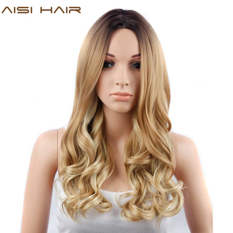 Aisi Hair 26 Inch Blonde Ombre Wig Synthetic Long Wavy