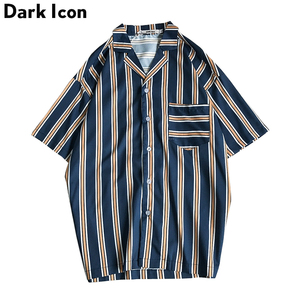 Dark Icon Front Pocket Hawaii Style Beach Shirts Men 2019 Summer Tropical Shirts Striped Shirts for Men Short Sleeve