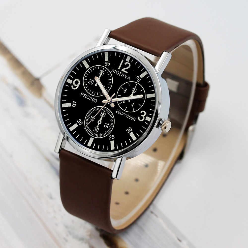 Tiga Mata Jam Tangan Kuarsa Jam Tangan Pria Kaca Biru Belt Watch Pria Watch Winder Band Olahraga Pria Minimalis Jam _ 12.5
