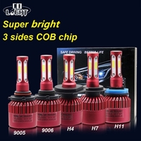 1 Pair H4 Led H11 Hb4 Led Bulb H7 72W 3 Sides Cob Chip 8000LM 6500K