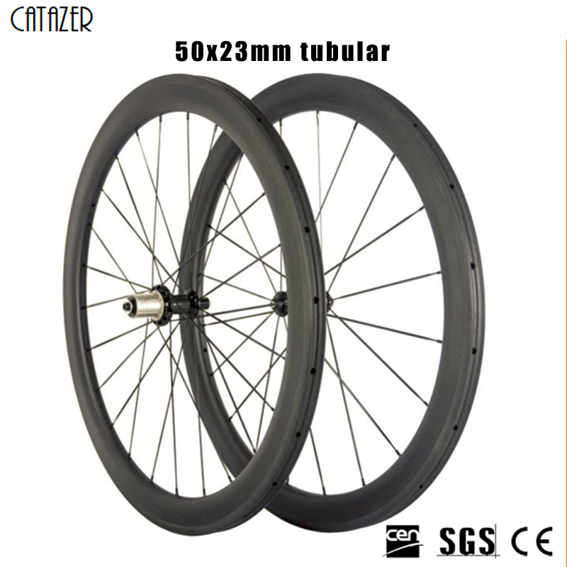 700C Road Bike Power Way R36 Ceramic Bearing Hub 50mm Depth Profile clincher tubular Wheelset Carbon wheels