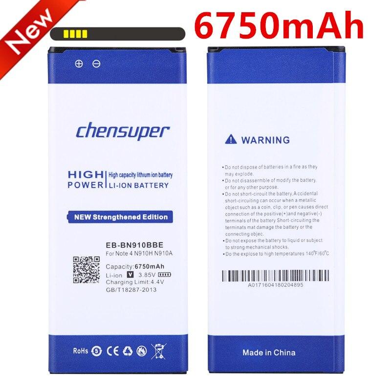 Chensuper 6750 mah Batterie EB-BN910BBE Für Samsung Galaxy Note 4 Note4 N910 Batterie N910H N910A N910C N910F N910FQ N910X N910W