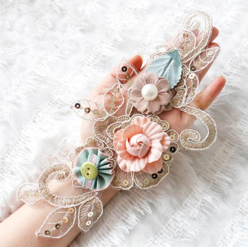 Кружевная ткань с 3D цветами и жемчугом, расшитая блестками, с аппликацией, отделка для вечернее платье, одежда, кружевной воротник, вышивка, ...